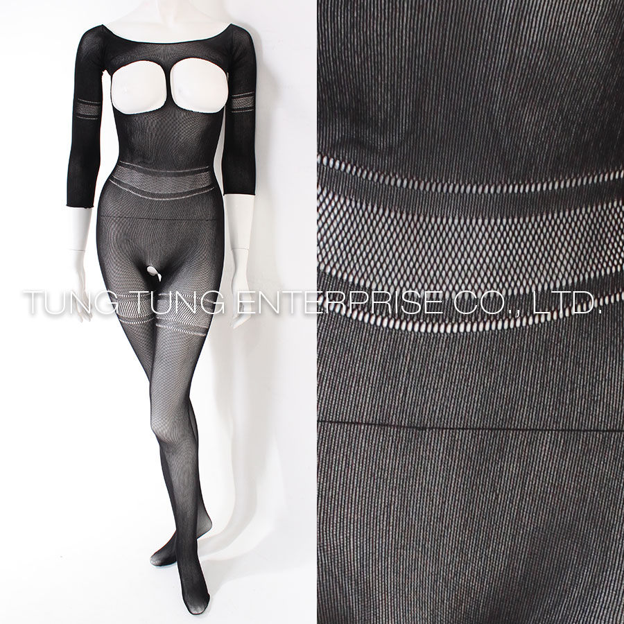 Cupless Opaque Crotchless Bodystockings with Quater Sleeves